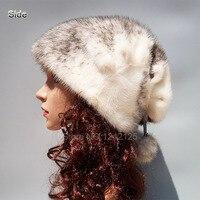 Новая стильная зимняя детская школьная сумка для женщин, для девушек и женщин, шапка из натурального меха норки, High end благородный теплый Рож