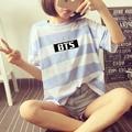 BTS KPOP Summer Women Deep Blue Light blue green yellow Pink Cotton Letters printed candy Simple stripes Short-sleeve T-Shirt