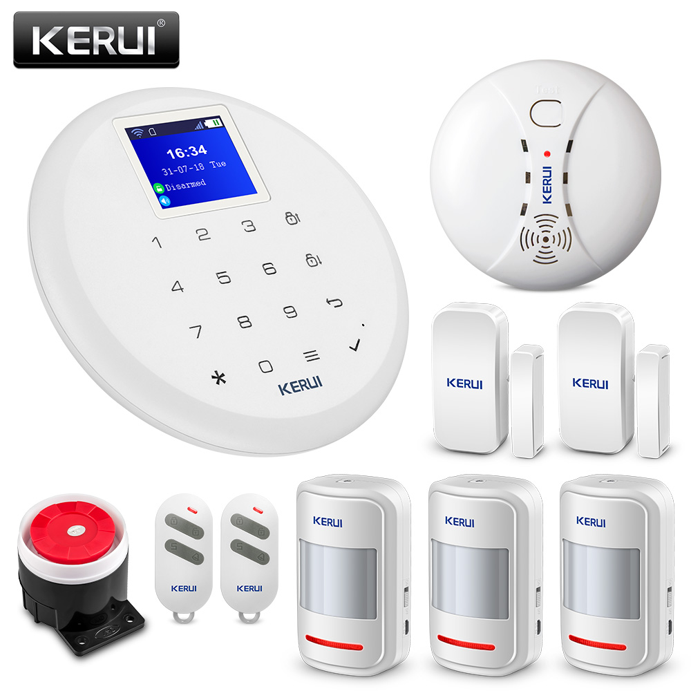 Kerui 8218g Home Alarm Security System 1.7 Inch Tft Touch Screen Gsm Pstn With Motion Smoke Sensor Detector And Wireless Siren Security & Protection