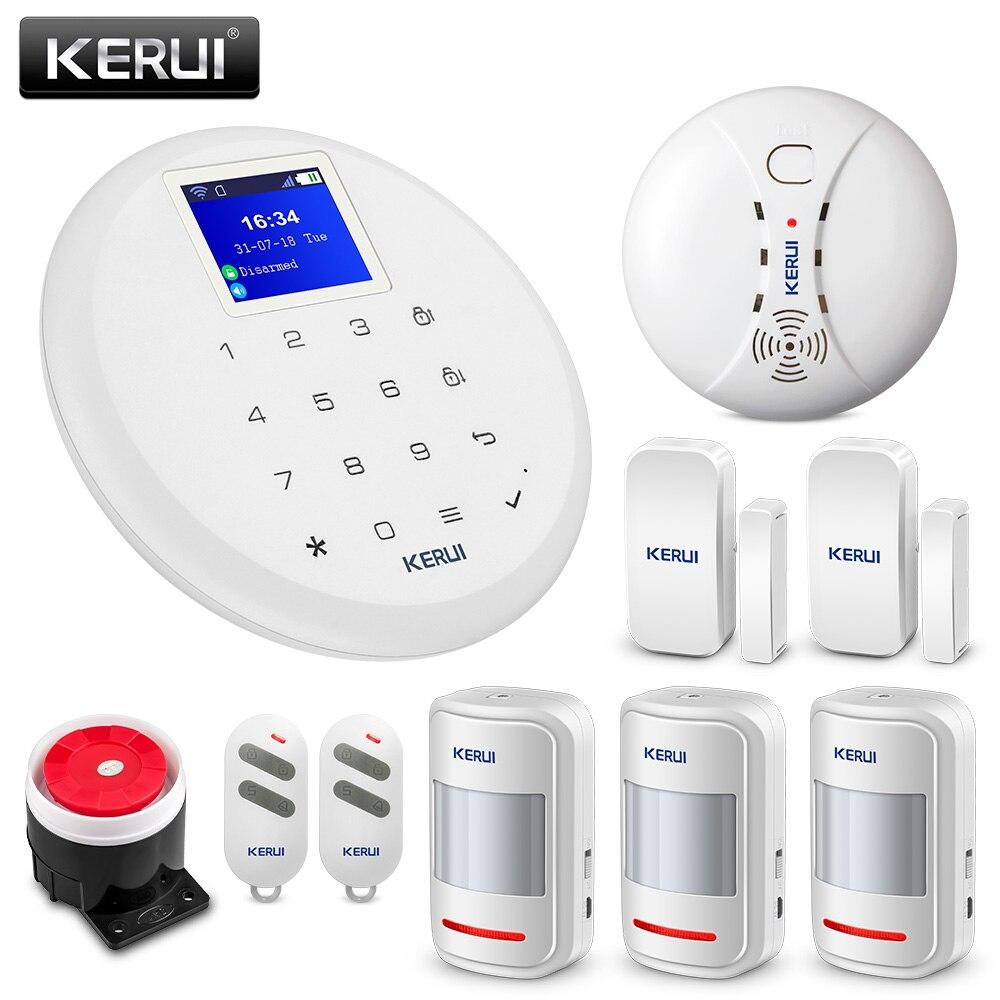 KERUI G17 Polegada de Alarme Home GSM Sistema de Alarme de Segurança 1.7 TFT Touch Screen Detector de Fumaça Sem Fio Detector de Movimento do Assaltante Alerta