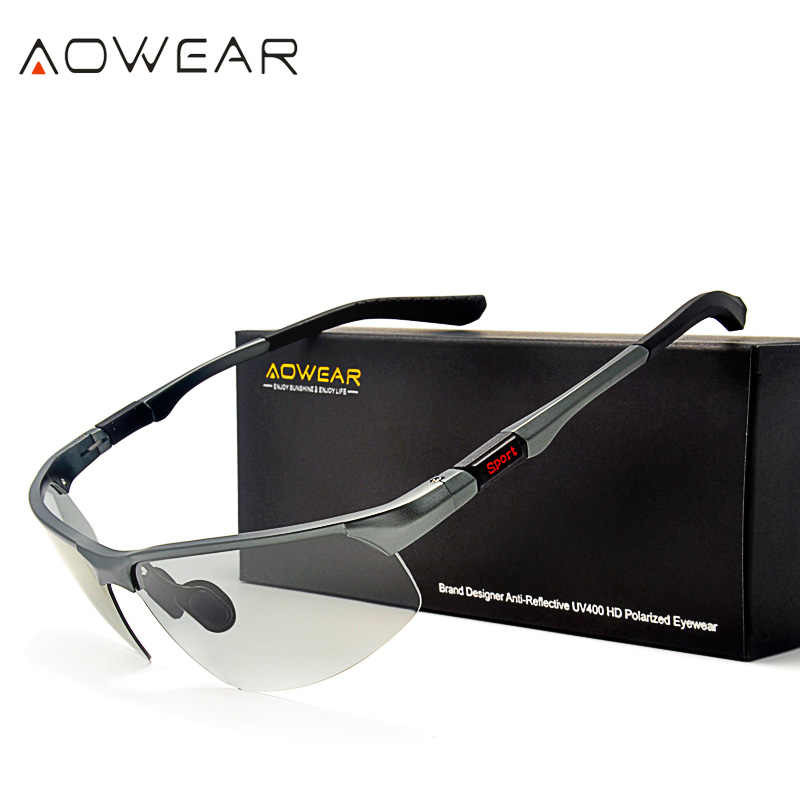 0d6c9c2a1 ... AOWEAR HD Men's Photochromic Polarized Sunglasses Men Polarized  Chameleon Glasses for Day Night Driving Anti- ...