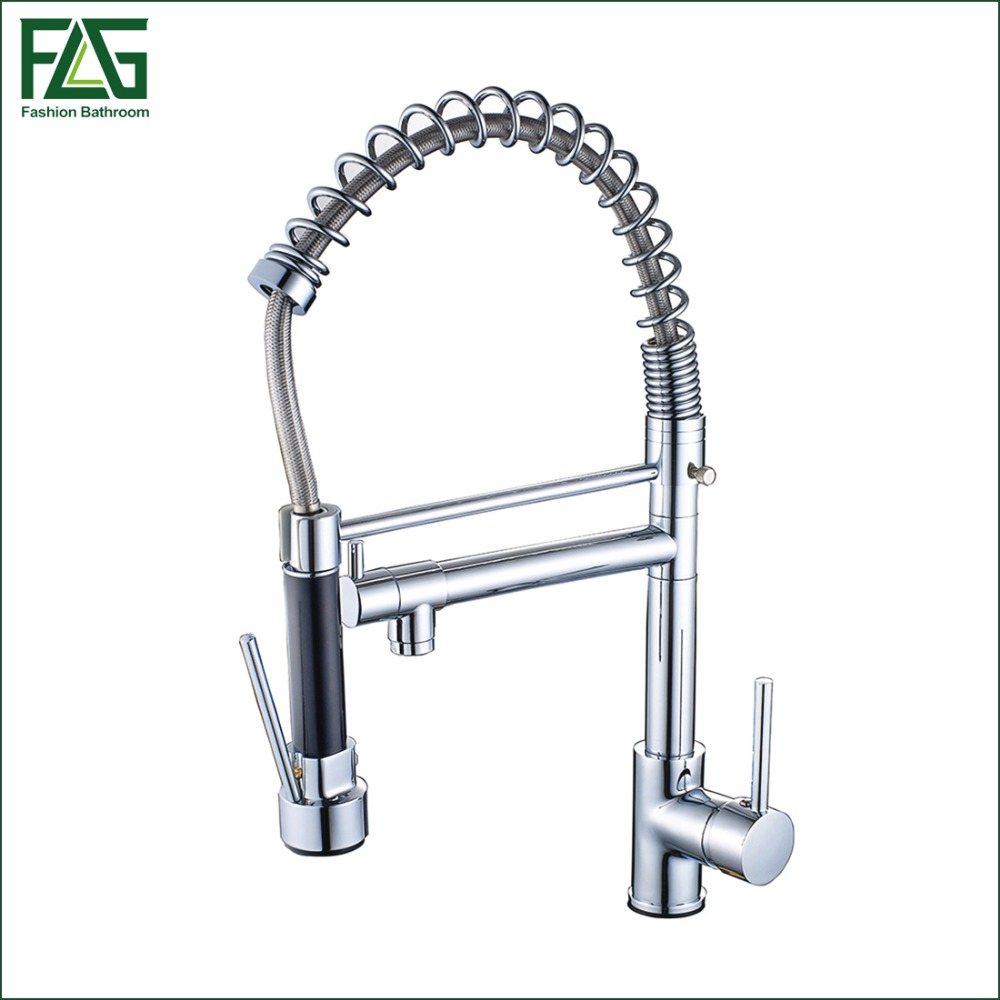 FLG New Arrival Pull Out Kitchen Faucet All Around Rotate Swivel 2-Function Water Outlet Chrome Cast Pull Swivel Mixer Tap 2087C