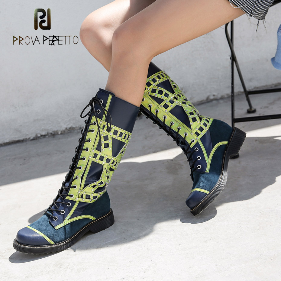 Prova Perfetto 2018 new winter lace up genuine leather knee high boots females round toe thick bottom mixed color knight boots Prova Perfetto 2018 new winter lace up genuine leather knee high boots females round toe thick bottom mixed color knight boots