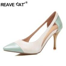 be6dd42f REAVE gato de las mujeres zapatos de tacón Zapatos Sexy mujeres de lado los  recortes Color Mixto señaló tacones finos zapatos Mu.