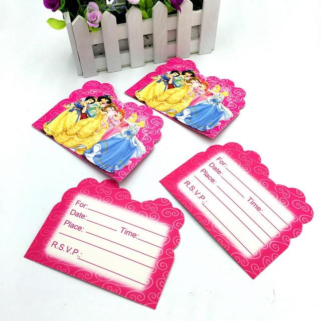 10pcs Lot Princess Party Invitations Cards Happy Birthday Party