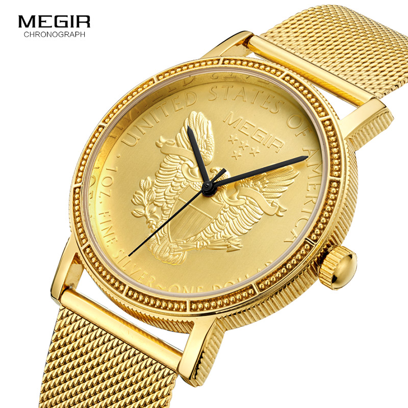 Megir Mens Fashion Gold Quartz Wrist Watches Round Dial Stainless Steel Strap Formal Dress Wristwatch for