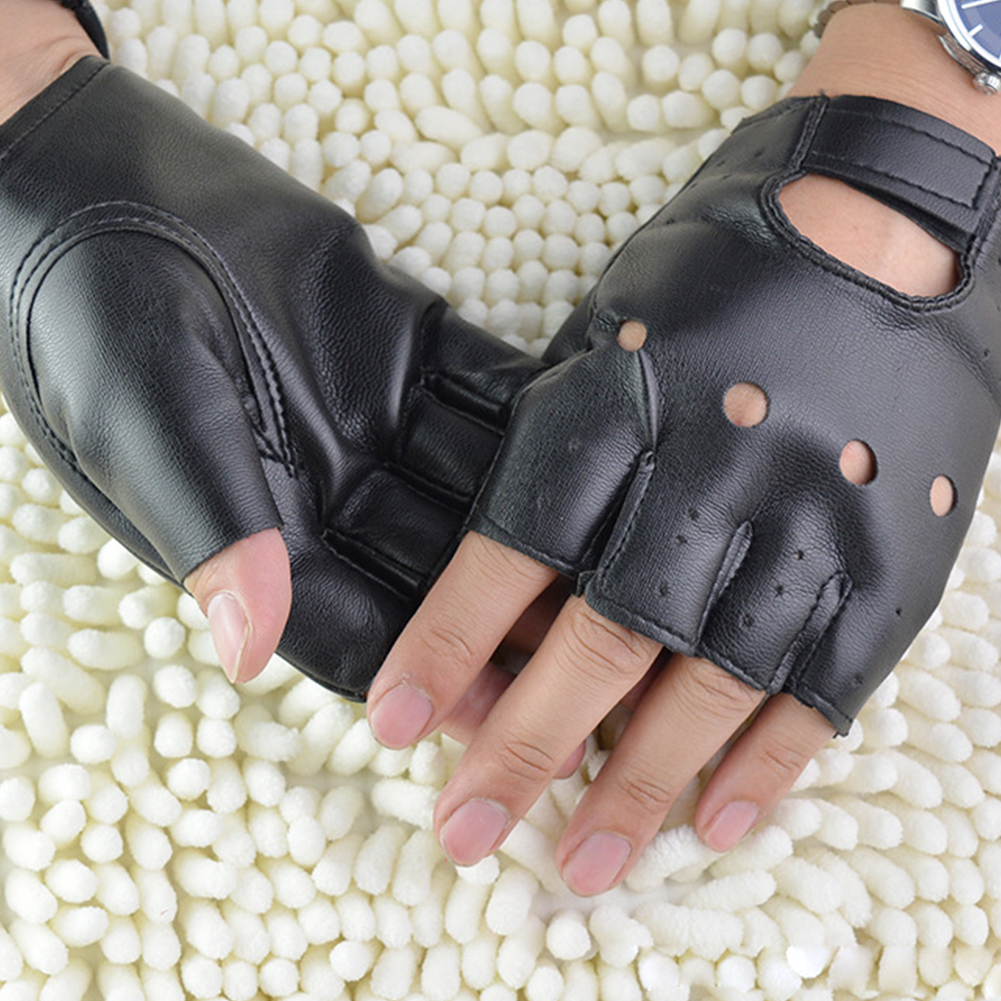 Punk Gloves Fingerless Gloves Sport Driving Outdoor PU Leather