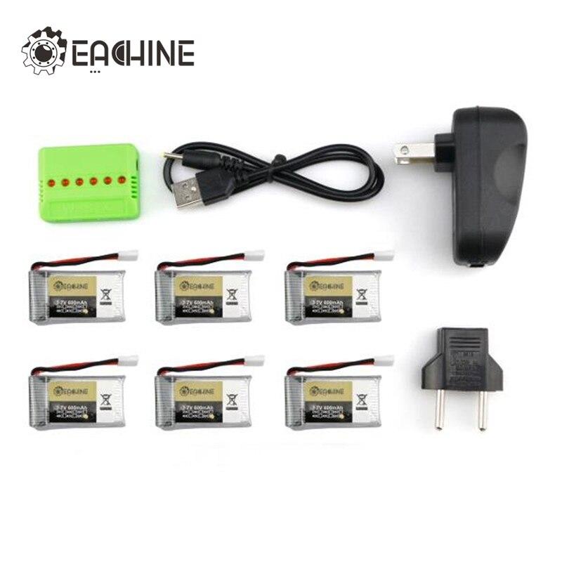 6x 3.7V 1S 600mah 50C Lipo Battery With Charger For Eachine QX90 QX90C QX95 QX105 QX110 QX80 QX70 QX100 Accessories Spare Parts 95 105 1 12