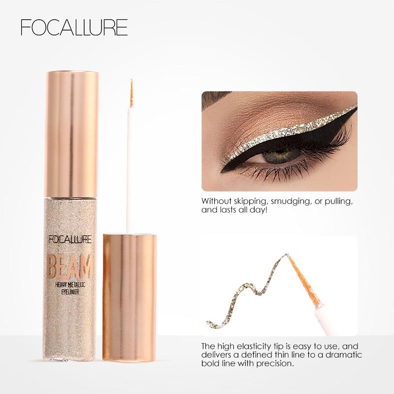 FOCALLURE Arrivel Baru 5 Warna Glitter Eyeliner Eyeshadow Untuk Mudah - Riasan - Foto 3