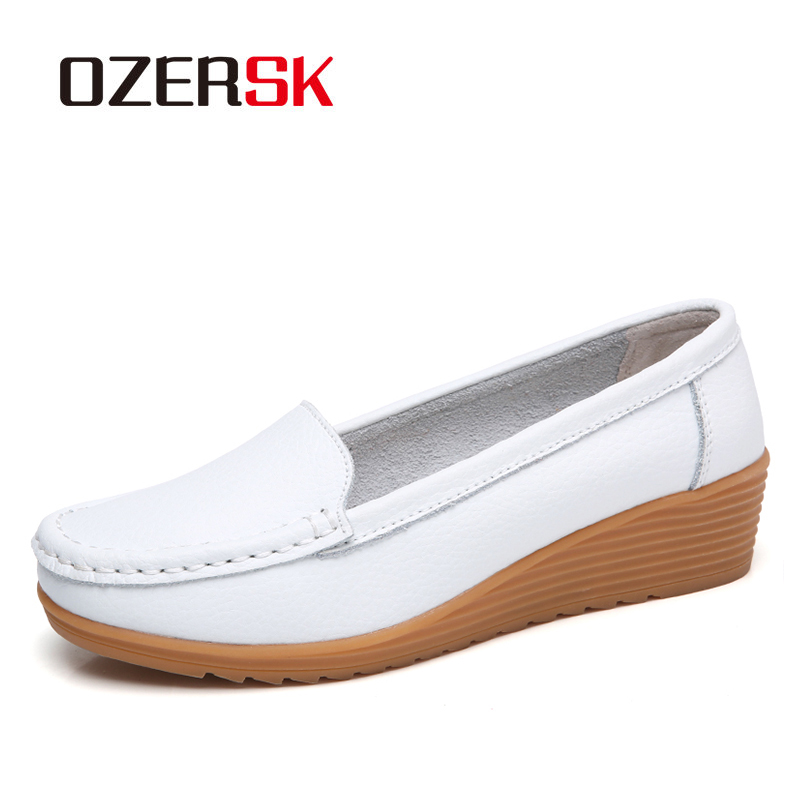 OZERSK Summer Woman Flats Genuine Leather Shoes Slip On Ballet Flats Women Flats Print Woman Shoes Moccasins Soft Loafers Shoes