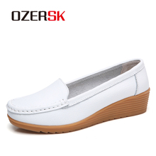 OZERSK Summer Woman Flats Genuine Leather Shoes Slip On Ball