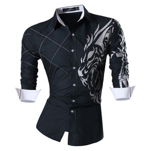 Image 3 - Jeansian 남자 패션 드레스 셔츠 캐주얼 긴 소매 슬림 맞는 Tatoo 세련 된 Z030