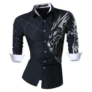 Image 3 - Jeansian di Modo degli uomini di Camicie Eleganti Casual Manica Lunga Slim Fit Tatoo Elegante Z030
