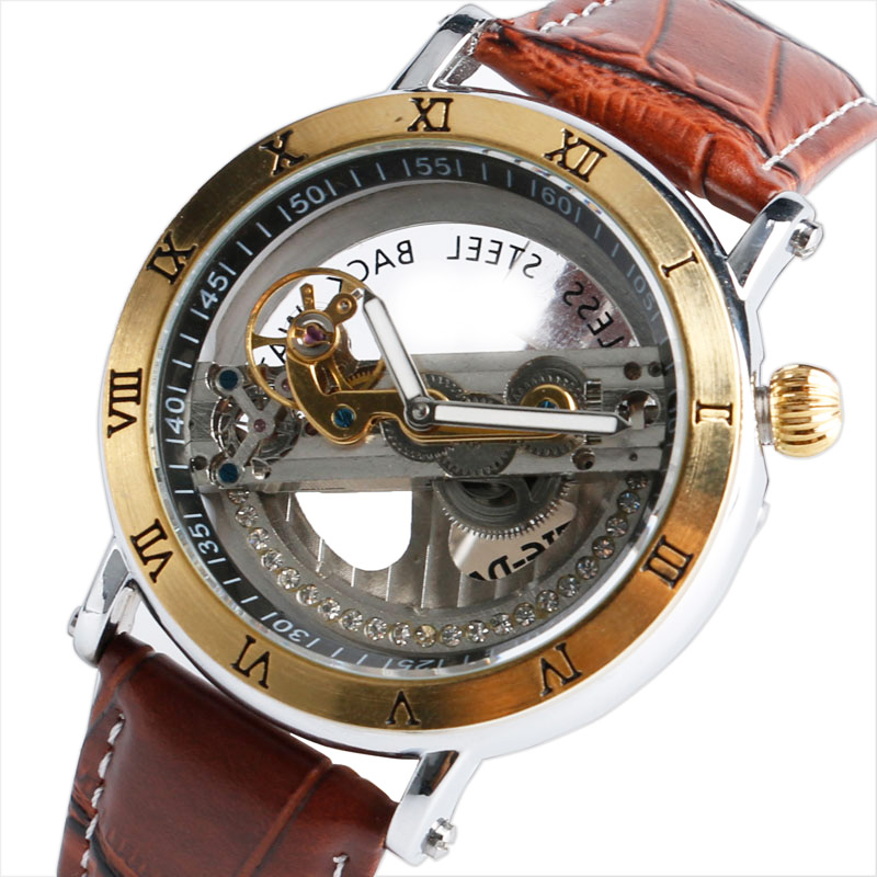 self winding watches men hollow promotion shop for promotional self wind automatic watch man fashion tiedan luxury wristwatches transparent hollow movement steampunk male clcok relogio