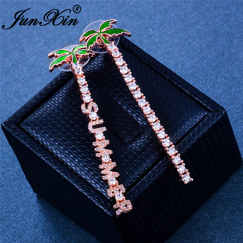 Cute Plant Coconut Tree Stud Earrings For Women White Gold Rose Gold Color White Crystal Stone Letters Earrings Summer Jewelry