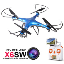 2016 НОВАЯ Камера Drone X6SW RC Дроны с Реальной Камеры время Транспортировки Видео WIFI FPV Quadcopter Вертолет vs Drone Syma X5SW