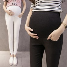 Summer Fashion Maternity Skinny Pants Elastic Waist Care Belly Pencil Trousers Clothes For Pregnant Women Thin Stretch Pregnancy cheap NONE sponge mice Natural Color COTTON 1013 Broadcloth White black navy light gray M L XL XXL