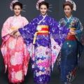 Японские Женщины Длинные Furisode Кимоно Светло-Розовый фиолетовый голубой Цветочный Простой костюм для Косплея