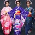 Las Mujeres japonesas Largo Furisode Kimono Rosa Claro azul púrpura Floral Simple traje de Cosplay