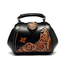 hand carve italian vegetable tanned genuine leather woman shoulder bags women leather handbags