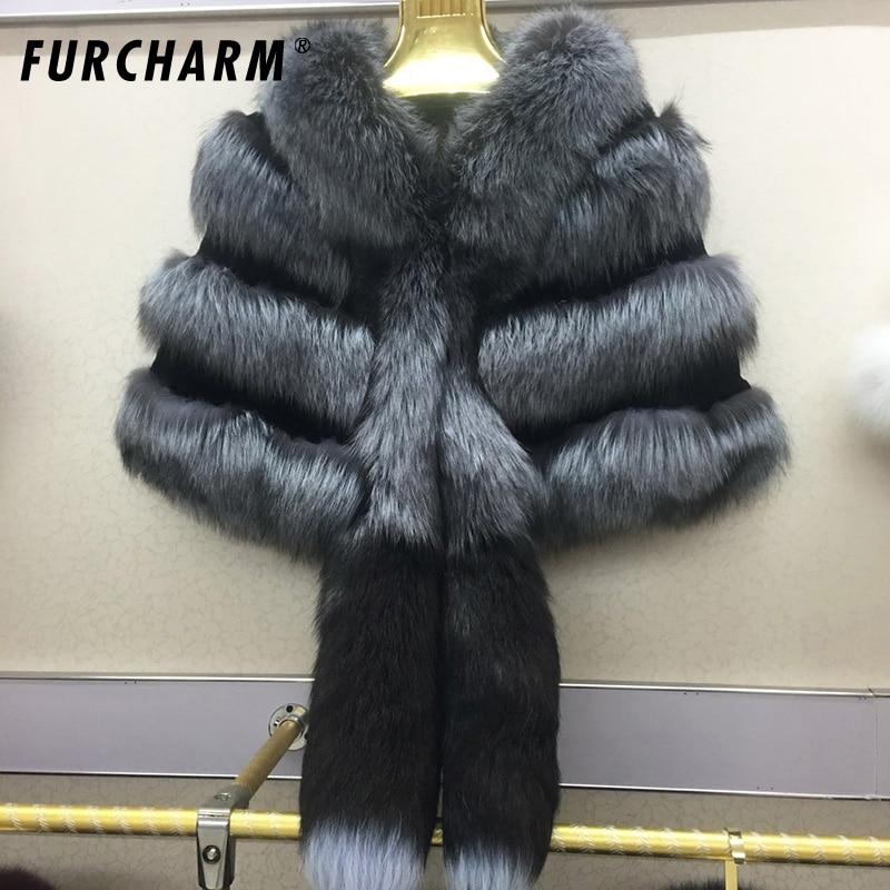 Натуральный мех платки и Шарфы для женщин новый 2018 люкс пашмины для Для женщин лисий хвост Дизайн пончо и Накидки 100% Натуральная лиса Мех жи