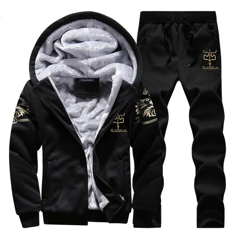 Symbol Of The Brand Warm Fur Inside Winter Sweatshirt Tracksuit Men Sporting Fleece Thick Hooded Brand-clothing Casual Track Suit Men Jacket+pant Waterproof Home Shock-Resistant And Antimagnetic