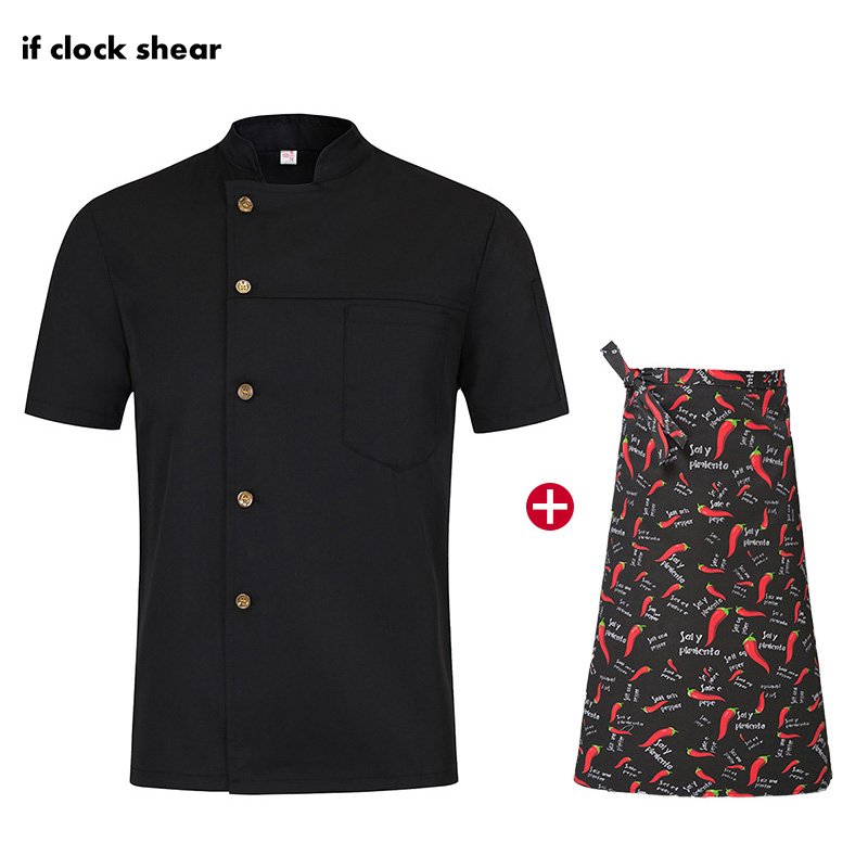 High Quality Unisex Restaurant Hotel Kitchen Chef Uniform Short Sleeve Single-breasted Workwear Breathable Cooker Jacket + Apron