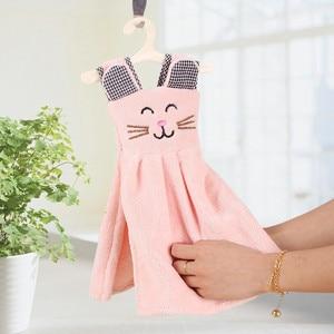 1PC Cute Cat Dress Hand Towel For Kids Chidren Microfiber Absorbent Hand Dry Towel Kitchen Bathroom Soft Plush Dishcloths(China)