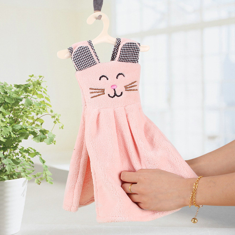 1PC Cute Cat Dress Hand Towel For Kids Chidren Microfiber Absorbent Hand Dry Towel Kitchen Bathroom Soft Plush Dishcloths