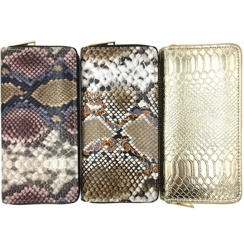 KANDRA Python Leather Long Wallet Women Snake Skin Print Ladies Wallets Zipper Phone Pouch Clutch Purse Card Holder Female Purse
