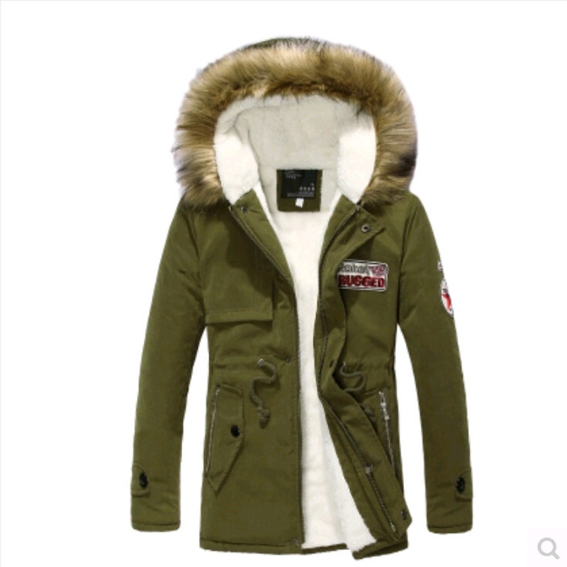 army green black khaki nice pea coats warm fleece clothing long ...