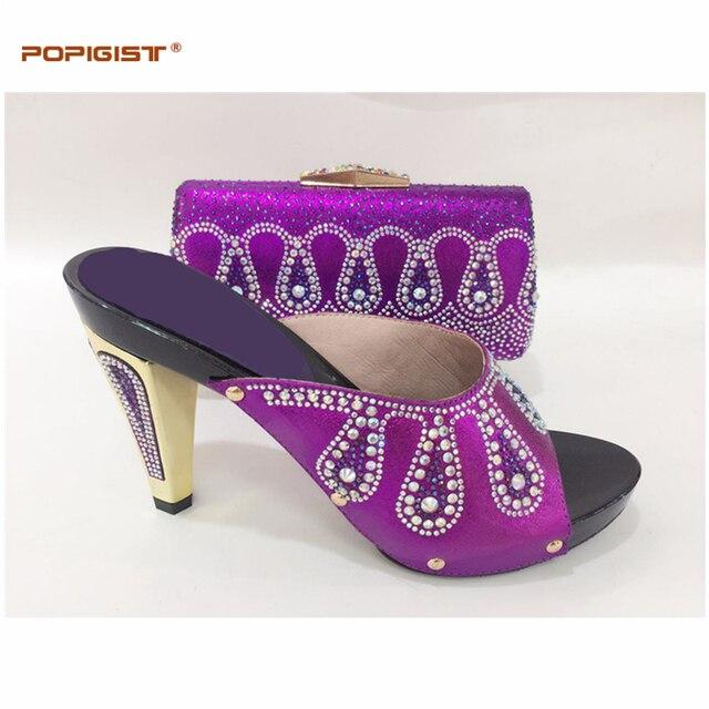 Partito della signora di colore Viola scarpe Italiane e borsa abbinabili  morbida pelle tacco alto pompa 3f46f061363