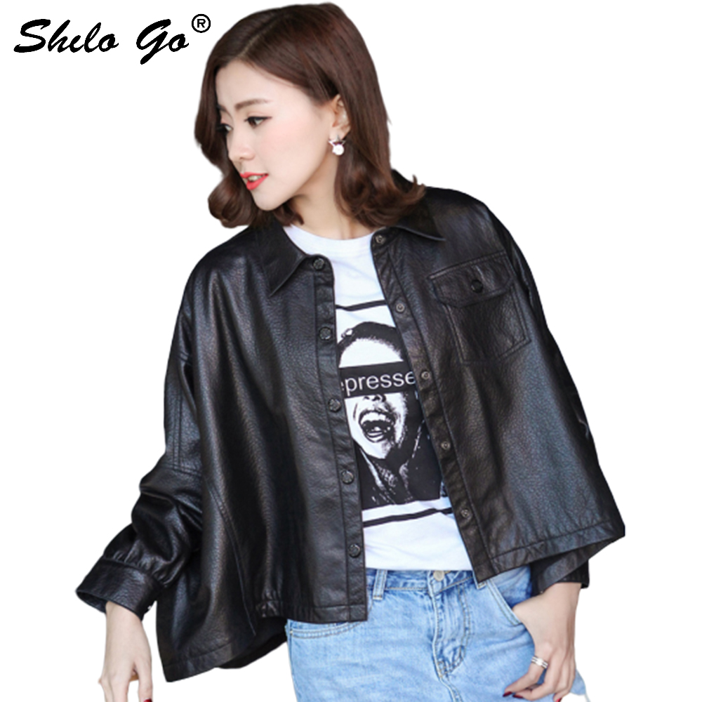 SHILO GO Leather Jacket Womens Spring Fashion sheepskin genuine leather Coat lapel collar batwing sleeve single