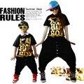 2015 Новая мода Марка дети Взрослых Тренировочные Костюмы носить кнопку джазовые спортивные брюки черного золота Гарем Хип-Хоп Танцевальная Брюки