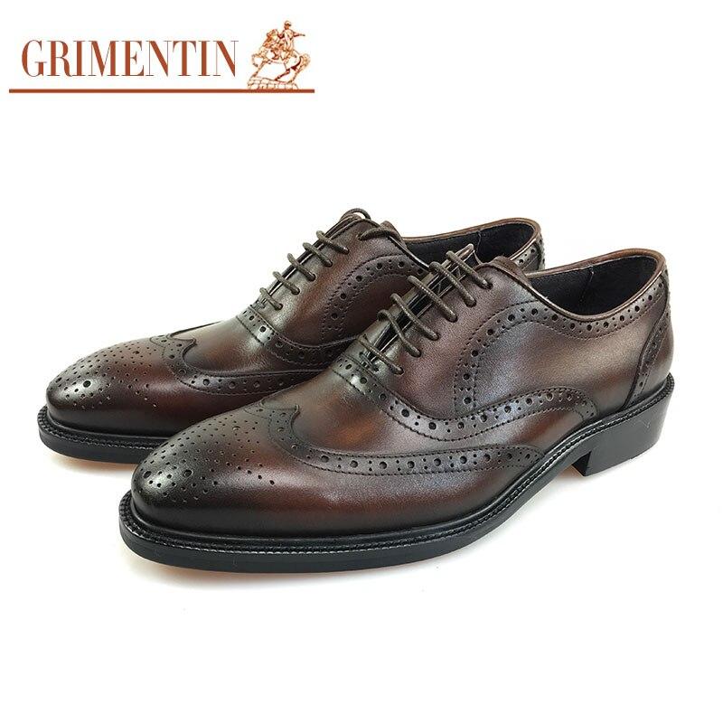 Dos brown De Couro Sapatos Oxford Do Para Esculpida Wingtip Black Homens Escritório Marca Negócios Vestido Grimentin Genuíno xFaqS8w
