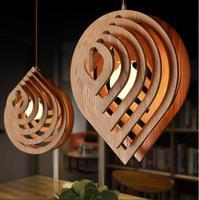 Modern Wood Pendant Light 100 240V Droplets Pendant Lamp Loft Pendant Lights Dining Room Home Lighting