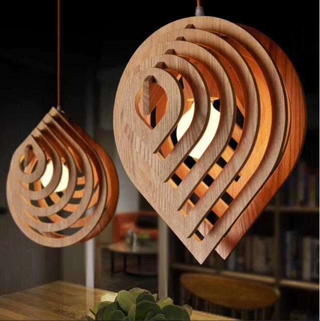 Modern Wood Pendant Light 100 240V e27 Nordic Wooden Water Drop