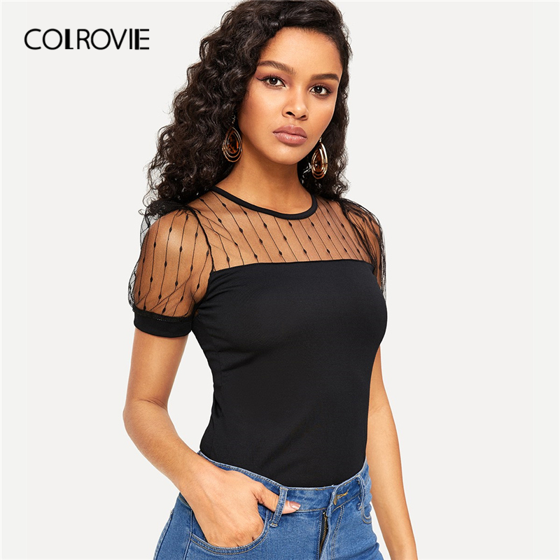 COLROVIE Black Striped Mesh Yoke Elegant   Blouse     Shirt   Women 2019 Spring Fashion Slim Fit Short Sleeve   Shirts   Office Ladies Tops