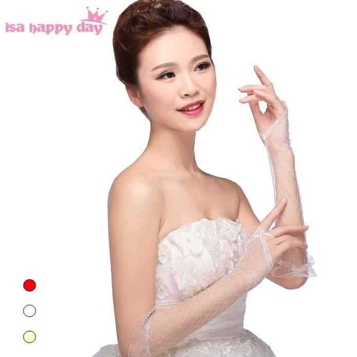 3 Color Bride Wedding Gloves Ivory White Red Opera Design Lace Gauze Transparent Women Gloves 2019 Summer Women Fishnet Mitten