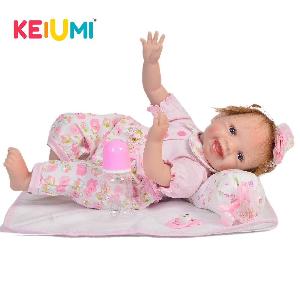 KEIUMI Lifelike 22 Inch Newborn Baby Doll Cloth Body Realistic Fashion Baby Doll Toy For Children's Day Kid Xmas Birthday Gifts keiumi cute 22 inch reborn baby doll cloth body realistic fashion princess baby doll toy for children s day kid xmas gifts