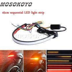 Motocykl czerwony bursztyn LED 45cm sekwencyjny Switchback płynący tylne światło hamowania działa włączony kierunkowskaz