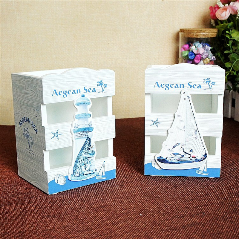 Nautical Lighthouse Sailboat Office Stationery Cute Pen Holder Desk Tidy  Organizer Kids Gifts School Supplies Table Decoration
