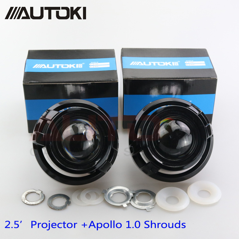 Free ShippingAutoki Car Styling Mini 2 5inch HID Bi xenon Headlight Projector Lens Apollo mask Retrofit