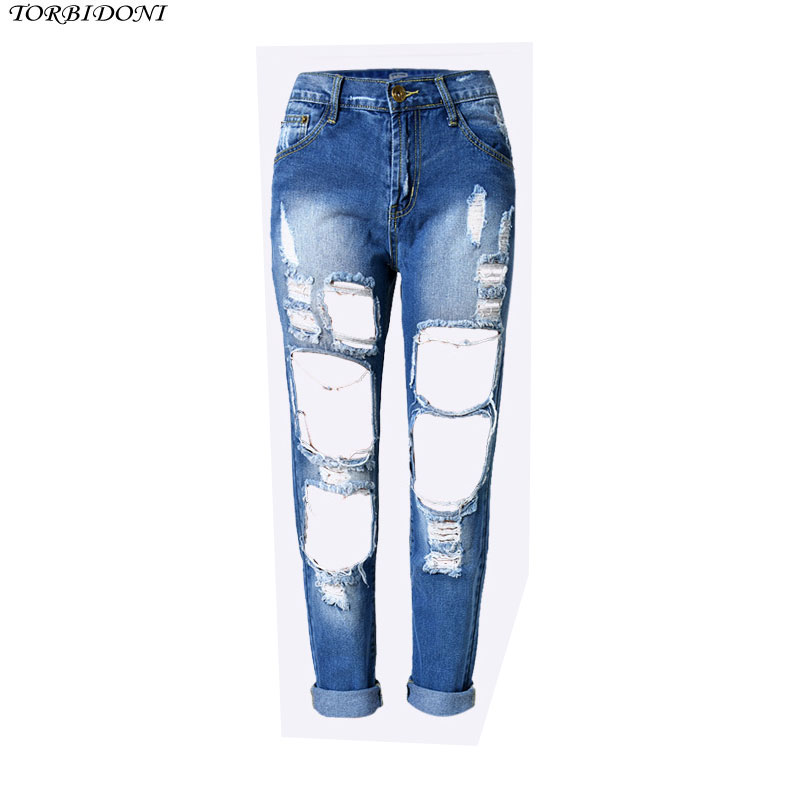 Sexy Hole Denim Jeans Women High Waist Ankle-length Vintage Slim Straight High Quality Ripped Denim Pants Trousers Night Club new summer vintage women ripped hole jeans high waist floral embroidery loose fashion ankle length women denim jeans harem pants