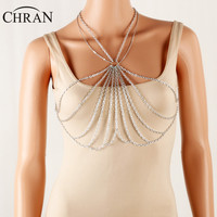 CHRAN Simple Silver Color Summer Style Multi Layer Necklace Sexy Bra Body Jewelry Chain Slave Harness Women Bikini Waist Chain
