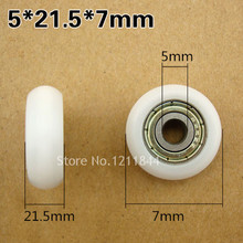 Free Shipping 10PCS M5 5x21.5x7mm pulley roller wheel with bearings цена и фото