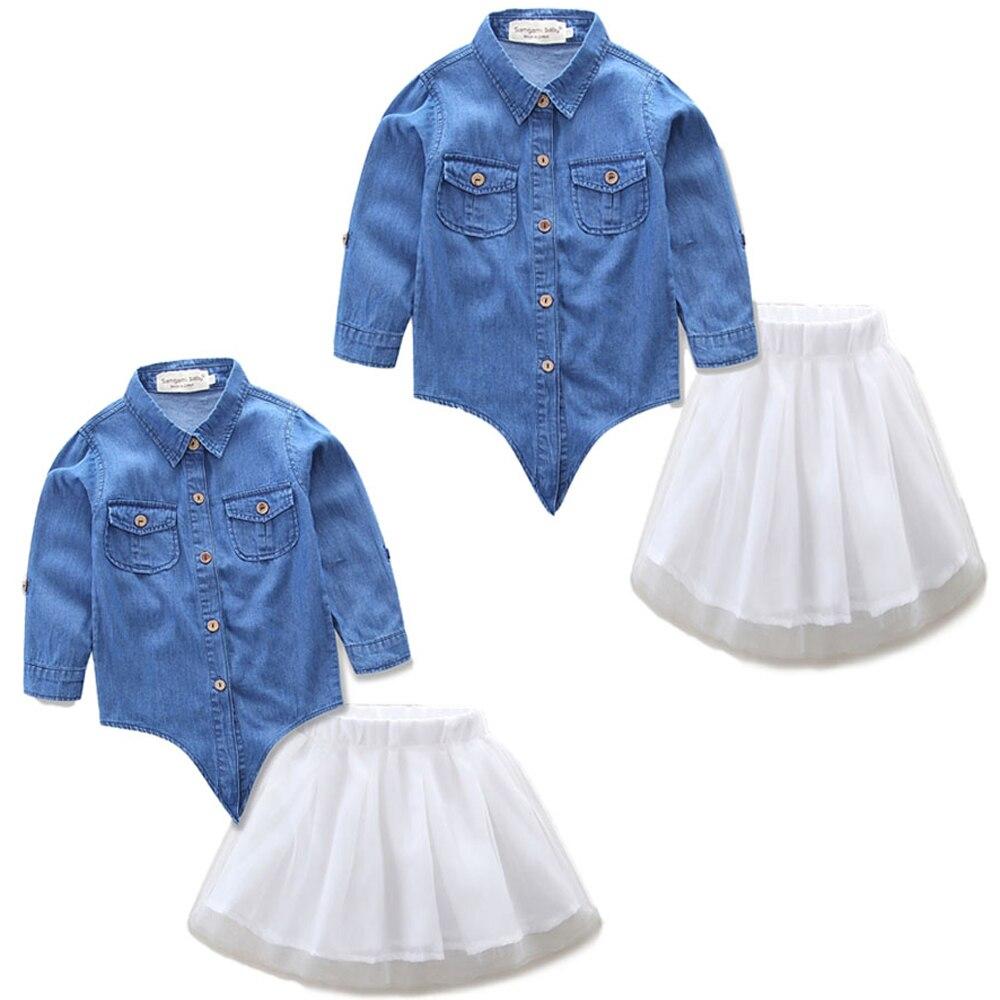 jauns Vecāku cowboy apģērbu tērps Denim krekls + balts Īss svārki modes māte Mamma un bērnu meitenes Augstas kvalitātes komplekts 2 gab Kleita