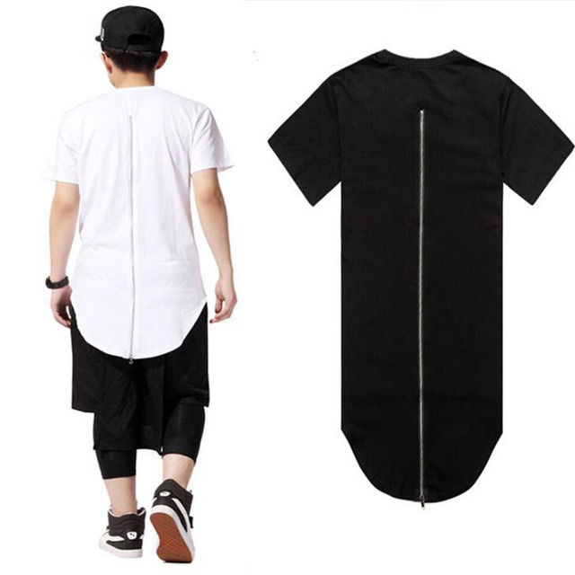c7655e606 Long Back Zipper Streetwear Swag Man Men Clothing Black White Male T shirt  Tyga Hip Hop Skateboard T-shirt Top Tee