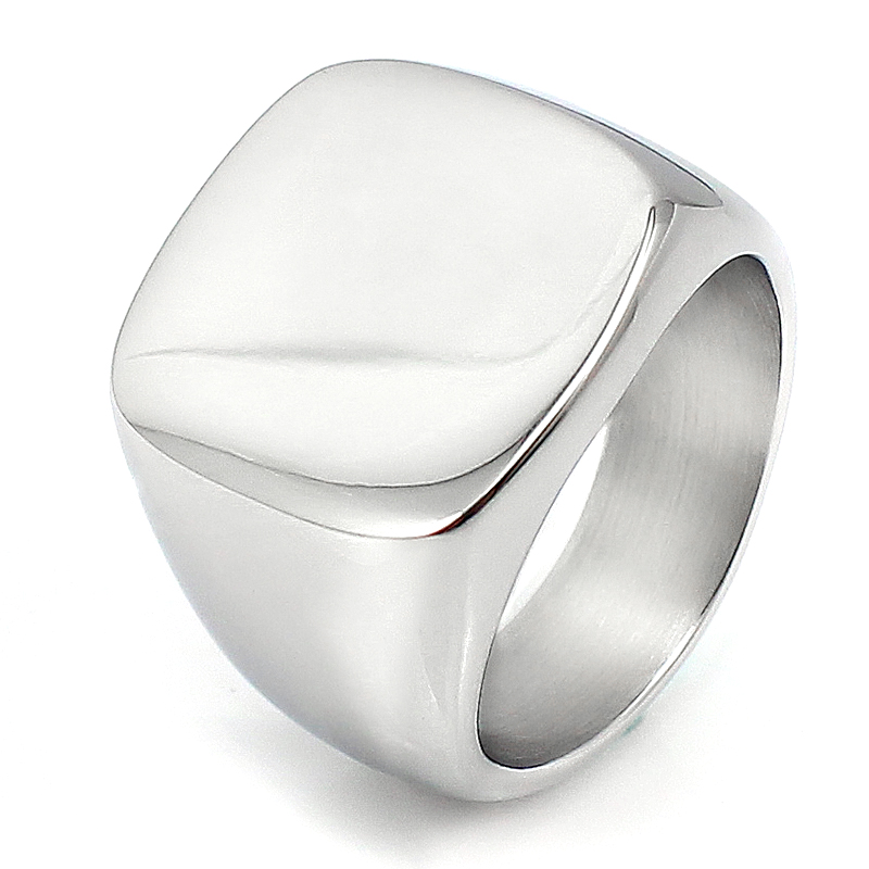 93cc0a12cd678 Custom Jewelry Personalized Rings Blank Stainless Steel Women Mens Signet  Ring Silver Size 9 10 11 8 7 6