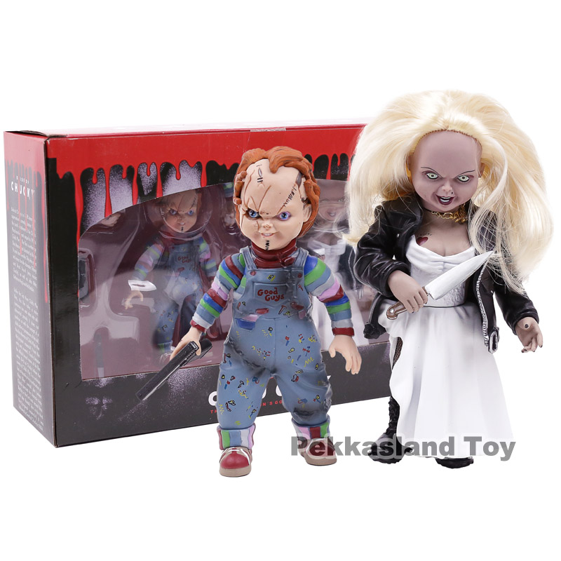 Child's Play Bride of Chucky Chucky & Tiffany PVC Action Figure Collectible Model Toy 2pcs/set все цены